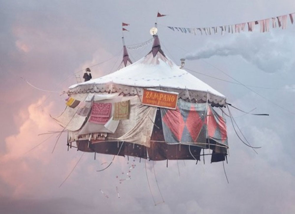 flying tent, surreal art, painting