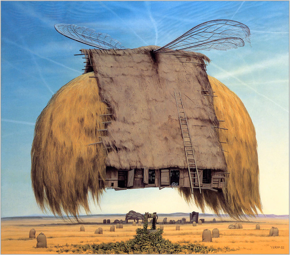 Surreal art, painting, countryside, Jacek Yerka
