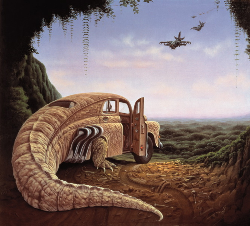 Surreal painting, reptile car, art, Jacek Yerka