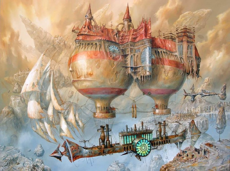 Surreal art, hot air balloons, painting, Jaroslaw Janikowski