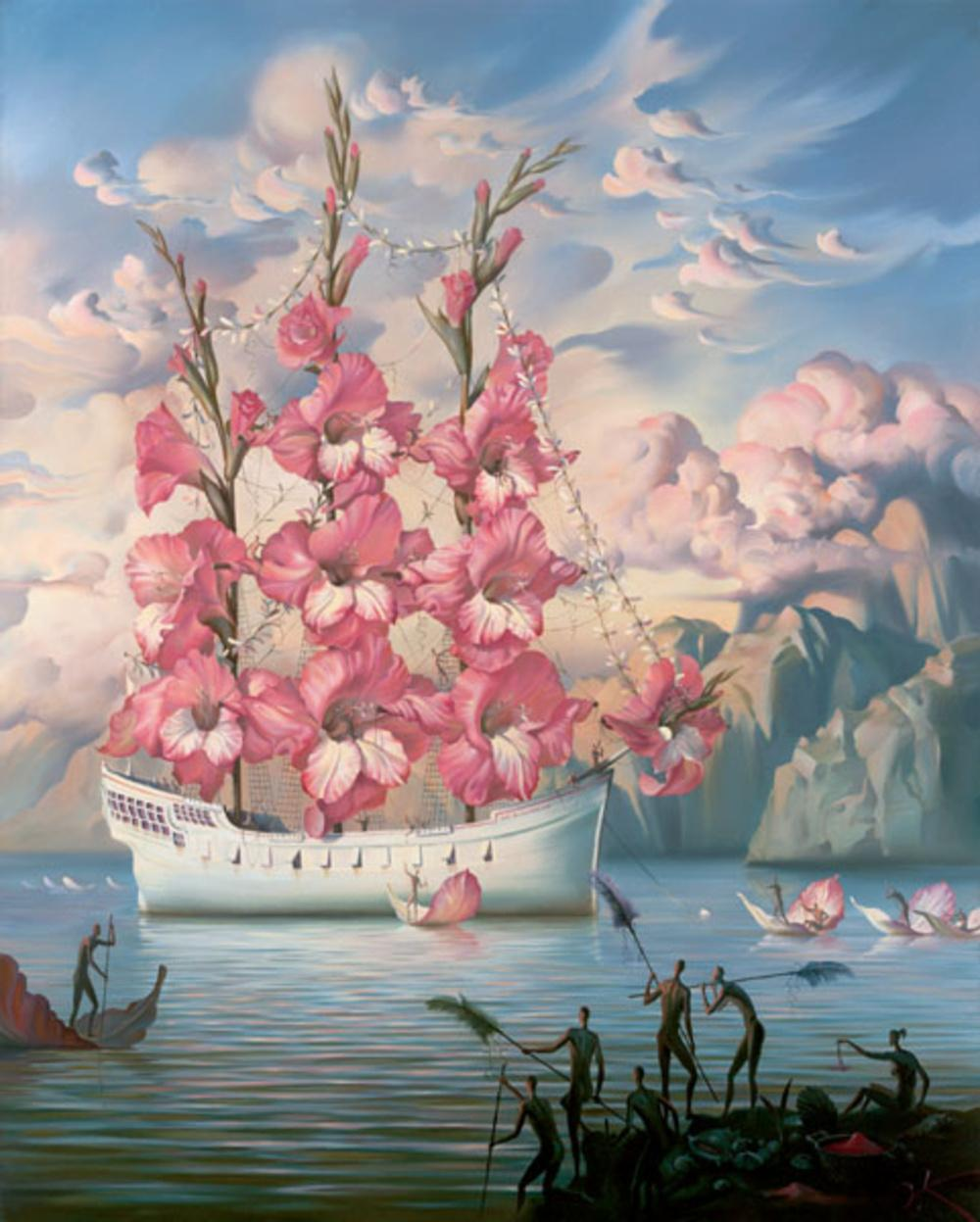Vladimir Kush painting, boat, surreal art