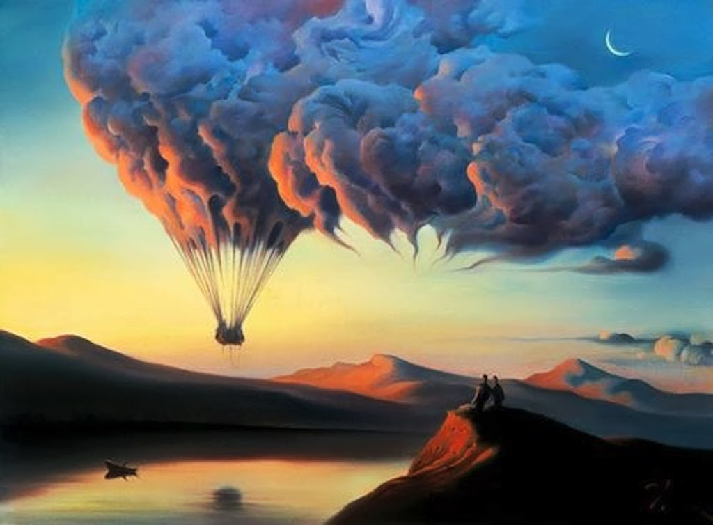 Surreal art, hot air balloon, painting, Vladimir Kush