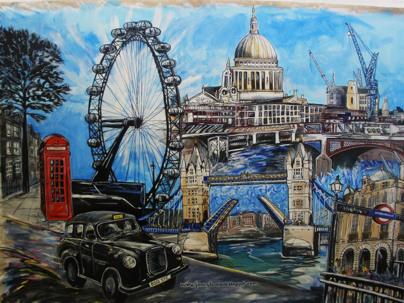 Lovely artistic representations of london s famous skyline for Cityscape mural