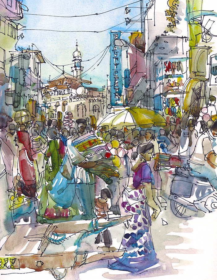 Indian Marketplace Drawing Painting the World: On...