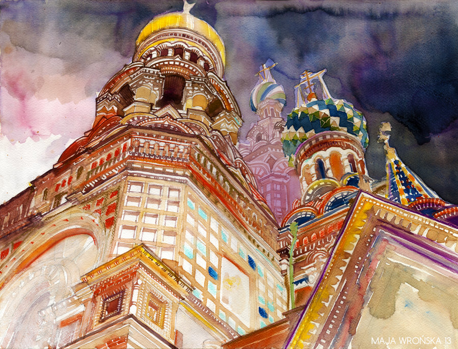 St Petersburg art, Russia, architecture, watercolour, painting, Europe