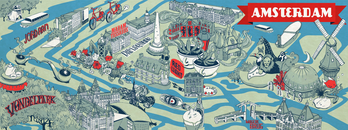 Illustrated Guides to European Cities – Tourist Attractions Map In Amsterdam