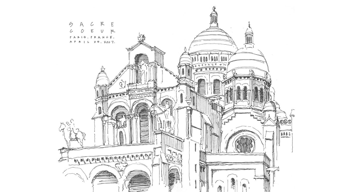 Around the world in black and white pen and ink travel