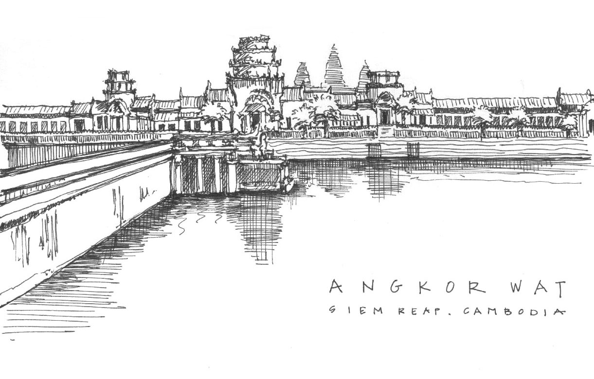 Sketches of Angkor Wat, Cambodia, Asia travel, Europe, art
