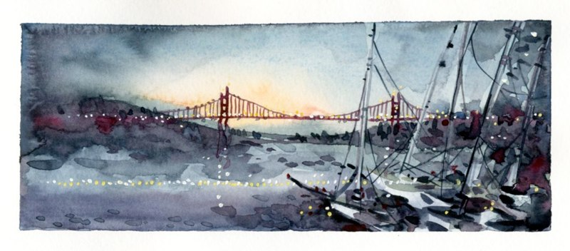 sketch of golden gate, paintings of america, travel, USA