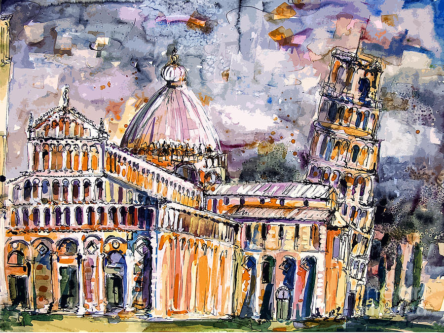 Leaning tower of pisa paintings, sketches of Italy, travel Europe, art