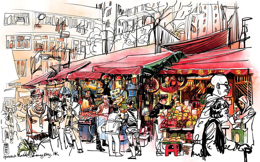 market in Hong Kong, iPad sketching, drawing whilst travelling, Asian art