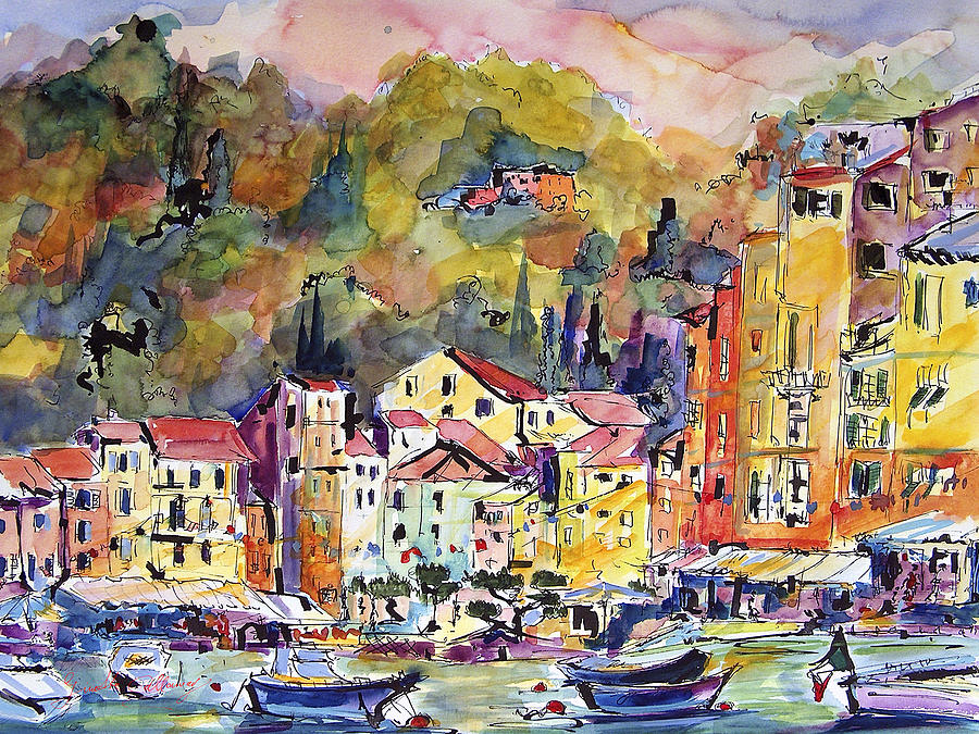 Paintings of Portofino, sketching, travel, Europe, art