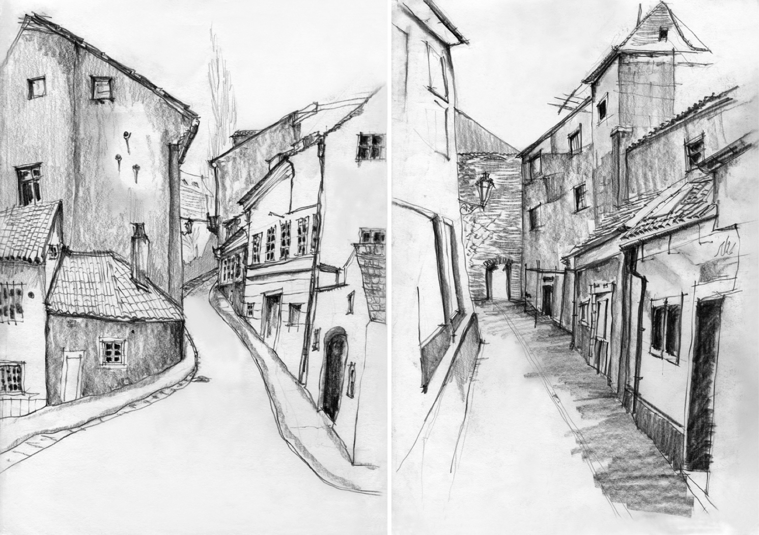 Sketches of praha europe travel art