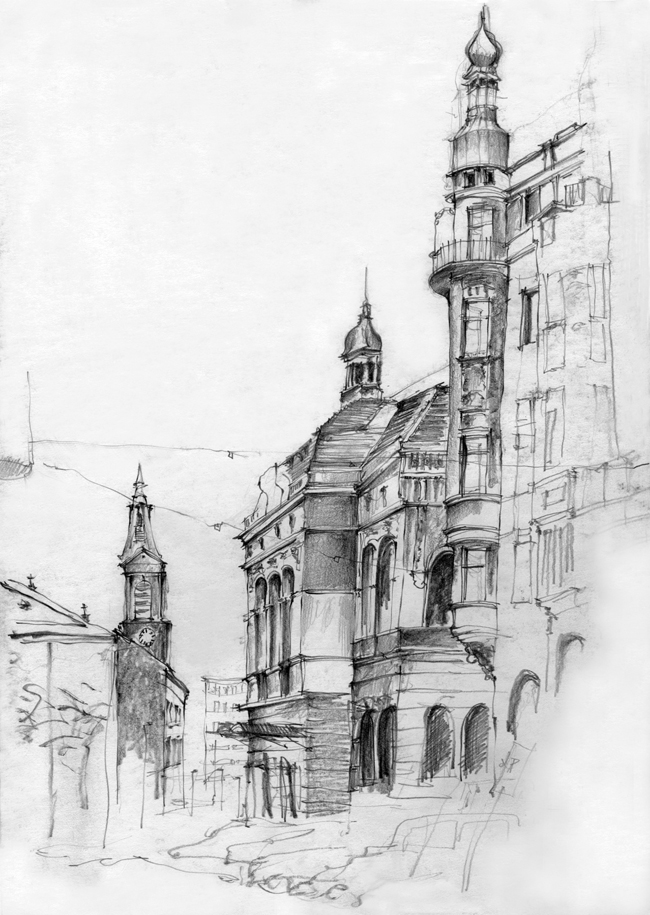 Black And White Sketches Of Urban Landscapes In Europe By Stephanie Calvet   Wanderarti