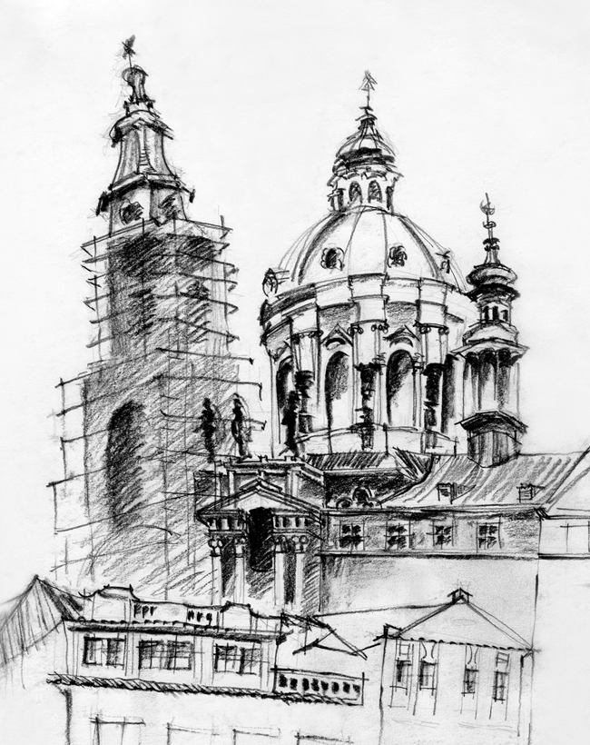 Interior Design Hand Sketches: Black And White Sketches Of Urban Landscapes In Europe By