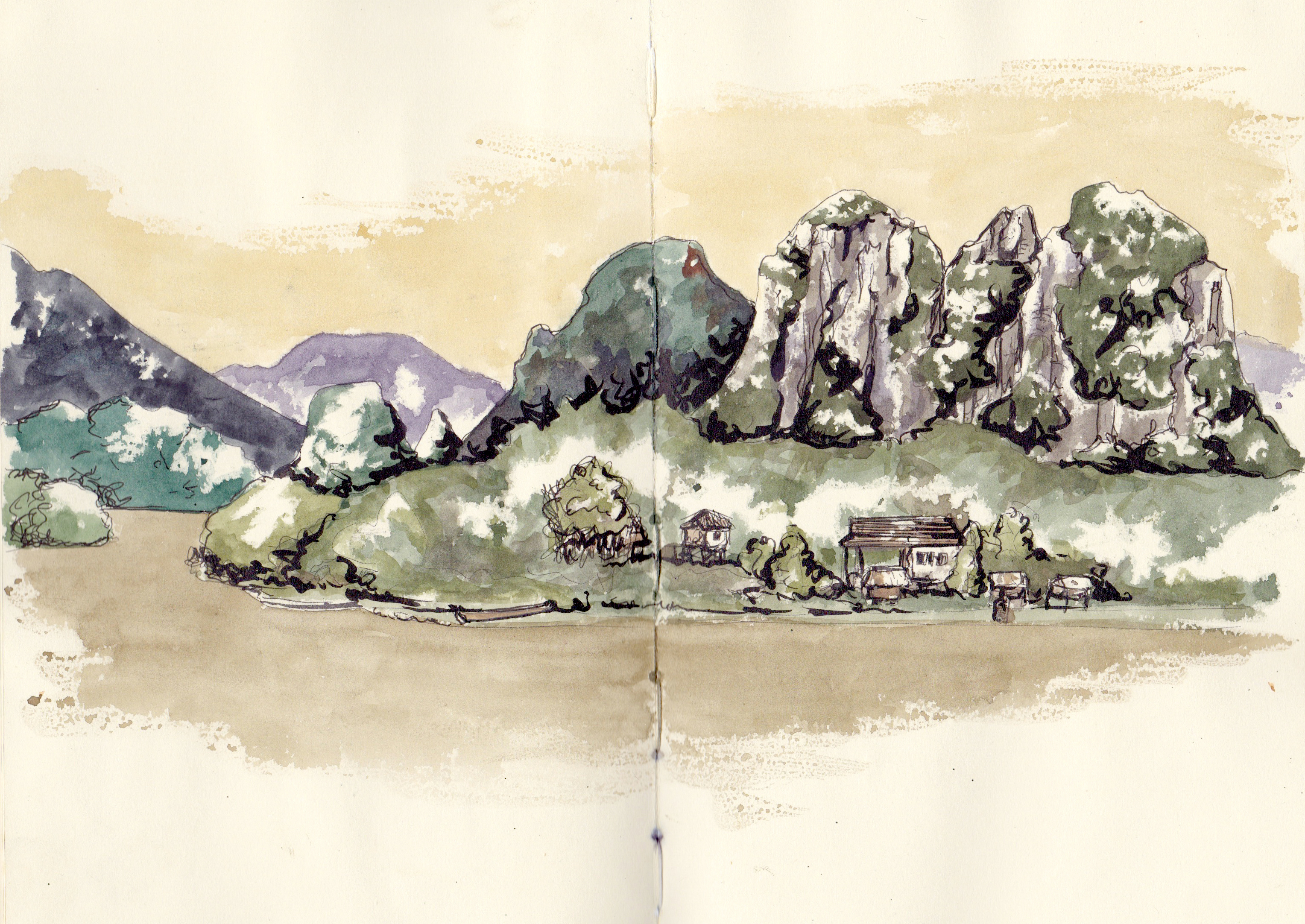 Sketches of vietnam, watercolour painting, travel, asia