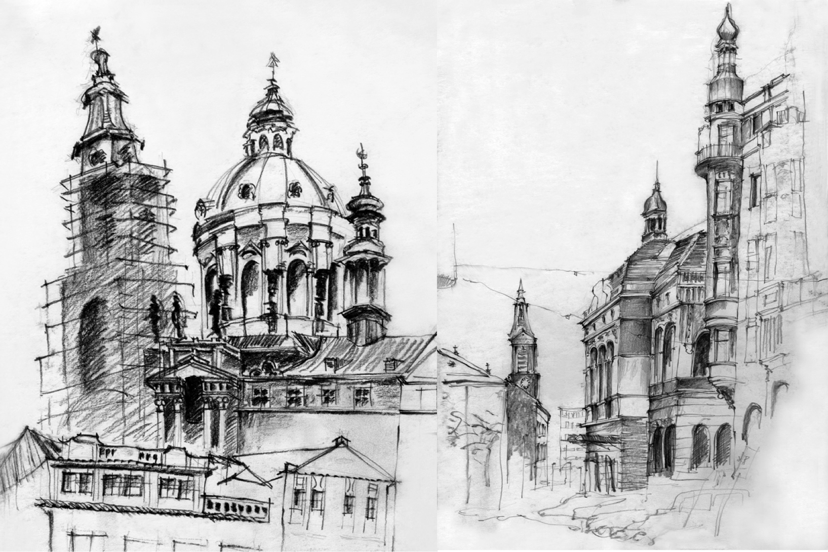 Black and white sketches of urban landscapes in europe by stephanie calvet