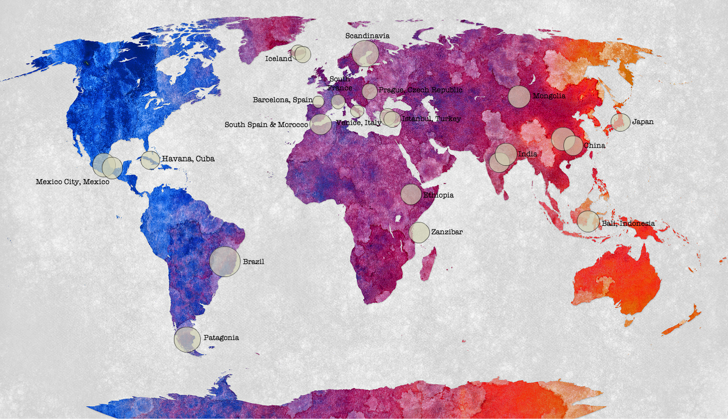 Painted map of the world, art, travel, art destinations