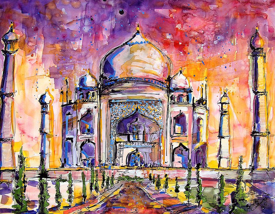 paintings of the Taj Mahal, India art, travel, sketches