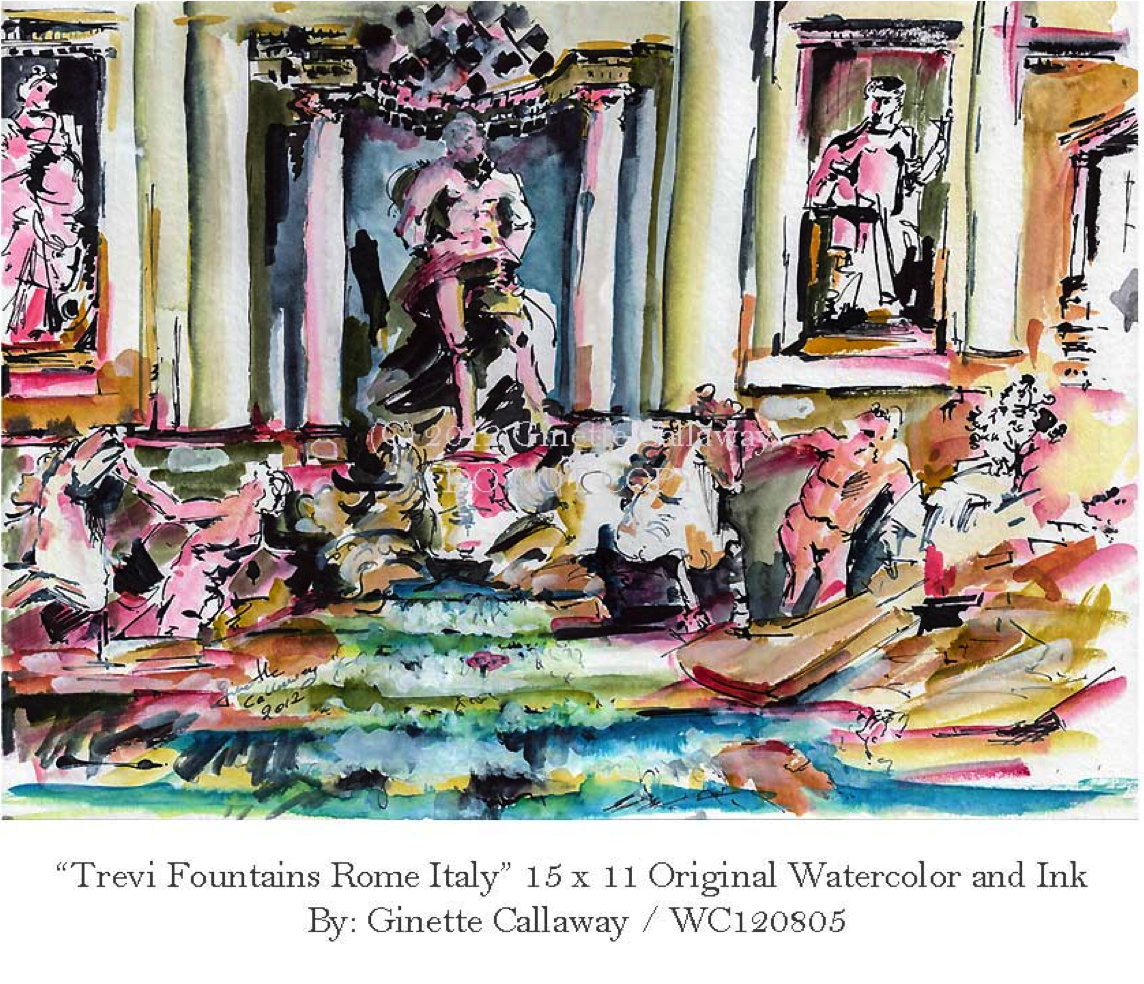 Sketches of the trevi fountains, Rome, Italy art, travel