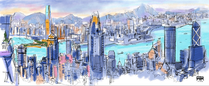 view of Hong Kong, sketching on iPad, drawing, travel, art in Asia