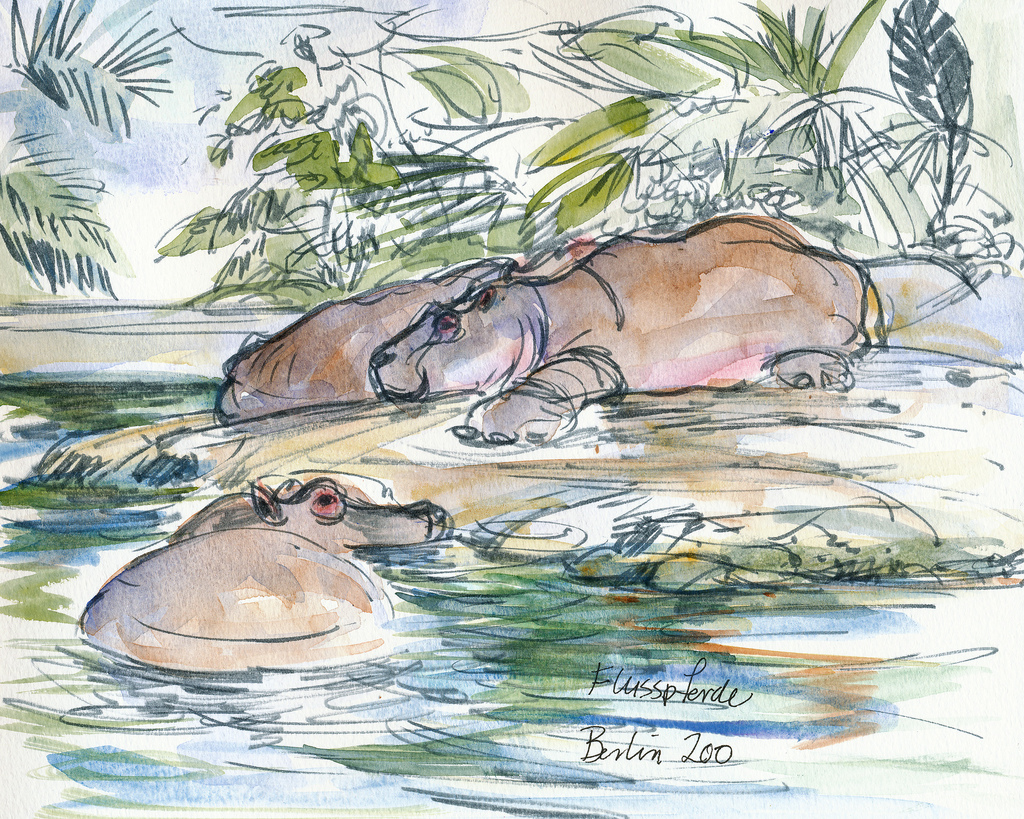 Berlin zoo germany sketches travel paintings art europe