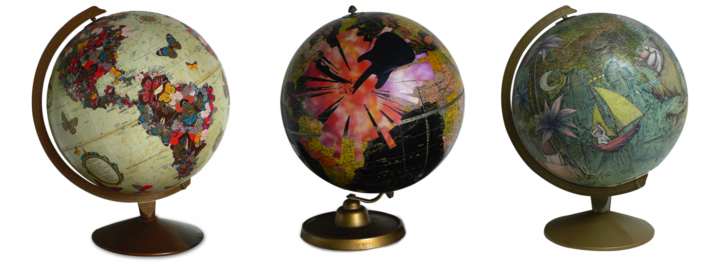 Worlds within a world vintage map and globe art by wendy gold globe art travel illustration gumiabroncs Gallery