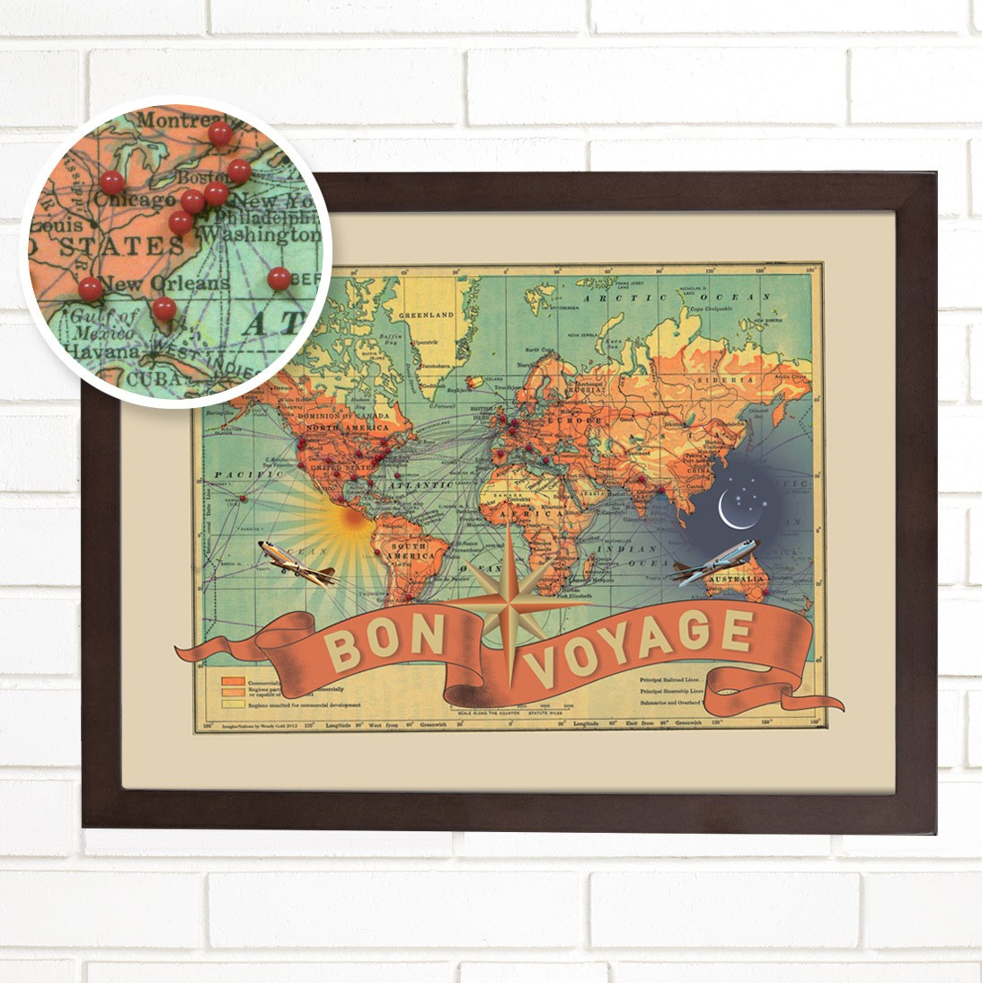 Worlds within a world vintage map and globe art by wendy gold world map illustration art travel gumiabroncs Gallery
