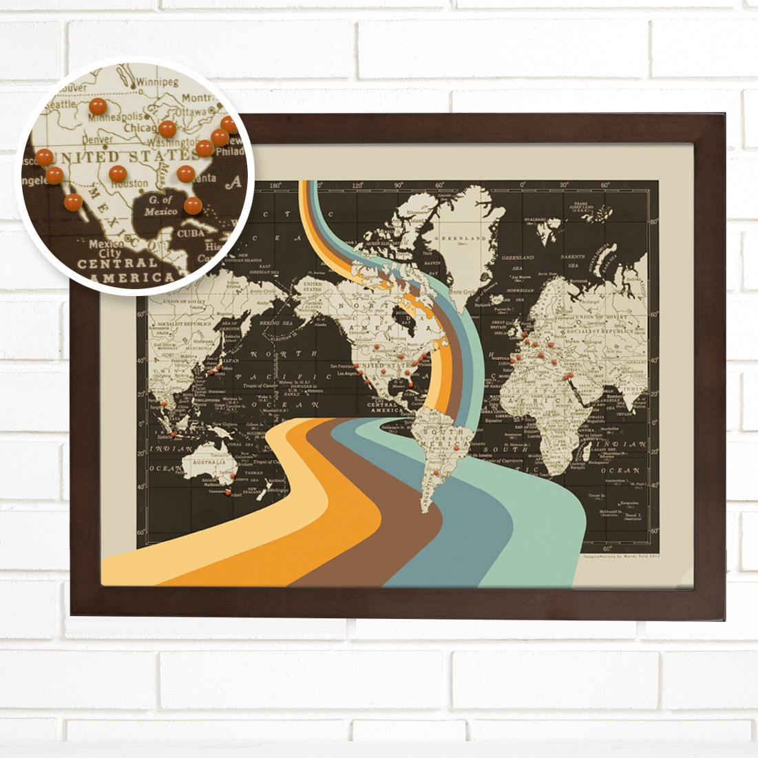 Worlds within a world vintage map and globe art by wendy gold world maps illustration art travel gumiabroncs Gallery