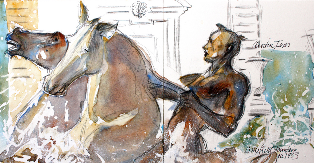 sketches of statues in Texas, travel art, America paintings