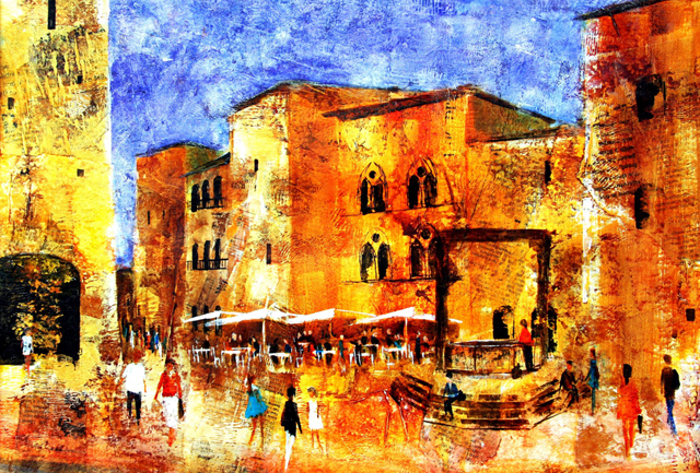 Mitzie Green, Paintings Of San Gimi, Travelling Artist, Travel Art