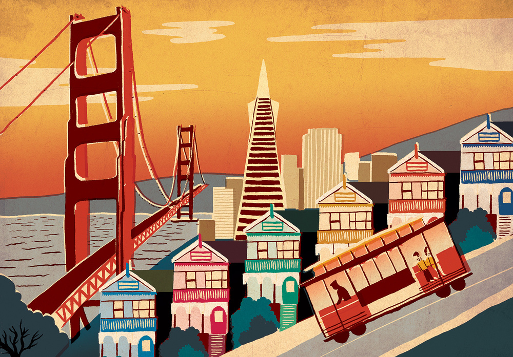 Vintage style illustrations of famous cities by sam for Buy art san francisco