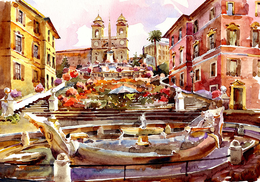 Spanish Steps Oil Painting