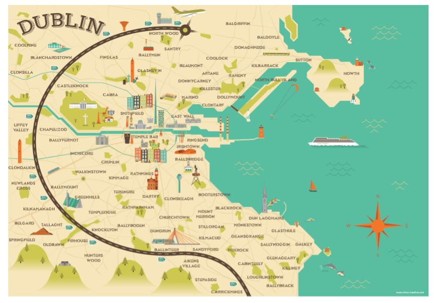 Sketch Map Of Ireland.Amazing Illustrated Maps Of Dublin Wanderarti