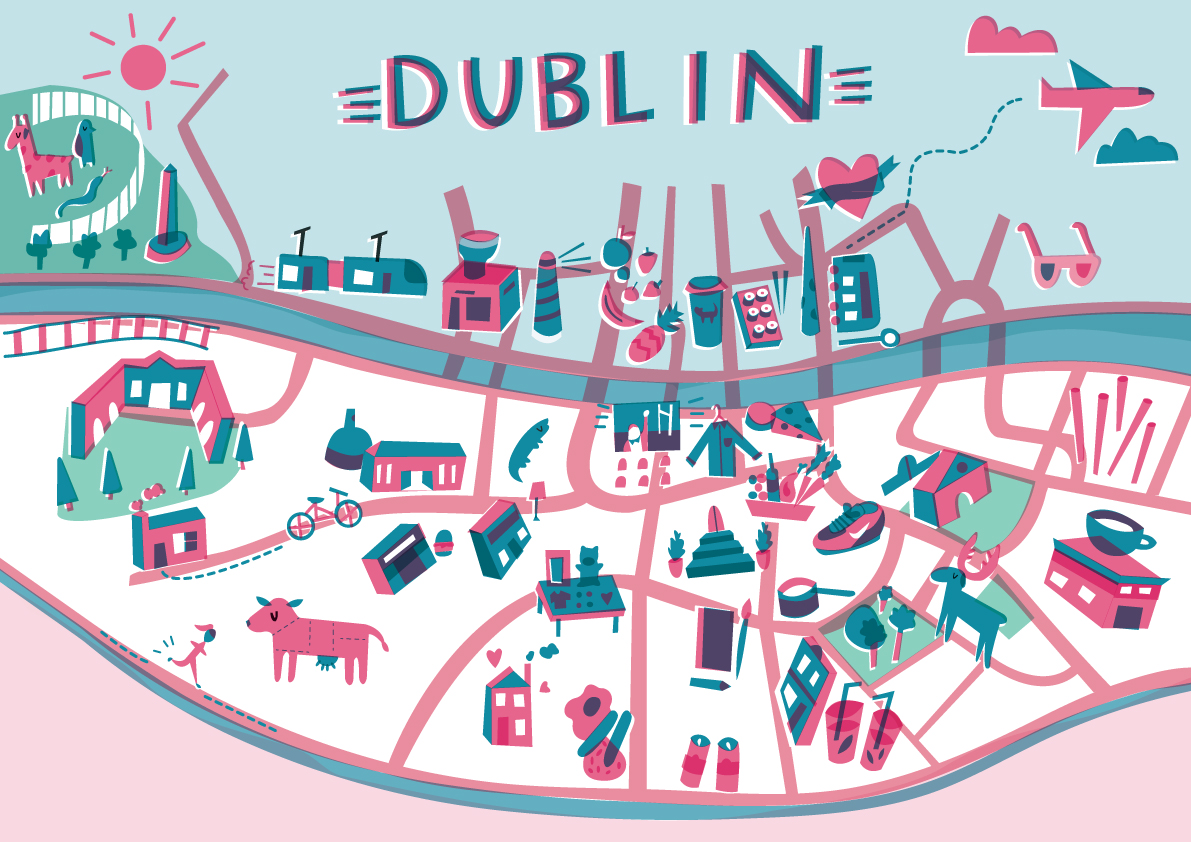 City Map Of Dublin Ireland.Amazing Illustrated Maps Of Dublin Wanderarti