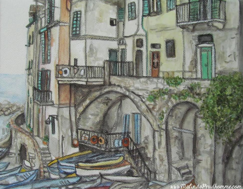 Drawings of Cinque Terre, Europe travel art