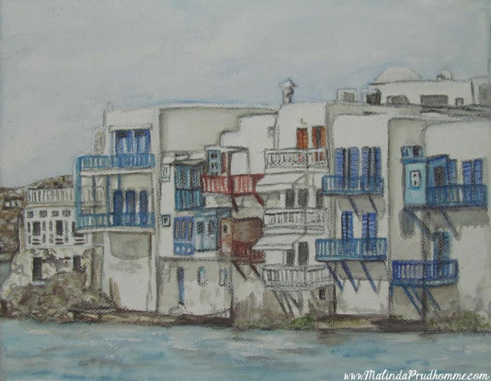 Drawings of Mykonos, Europe travel art