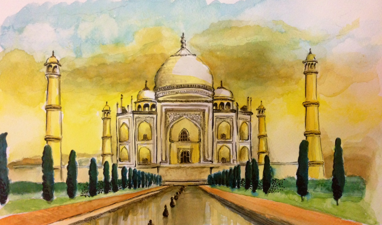 11 colourful arty visions of the taj mahal wanderarti for Archaeological monuments in india mural paintings