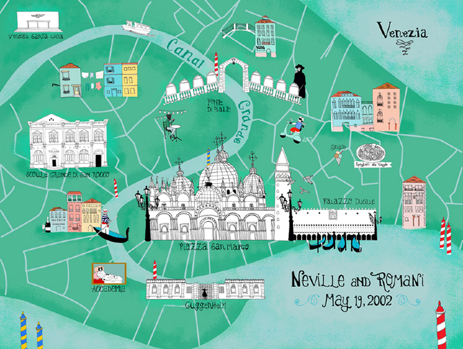 Vibrant Illustrated Maps Of Venice Wanderarti - Venice map image