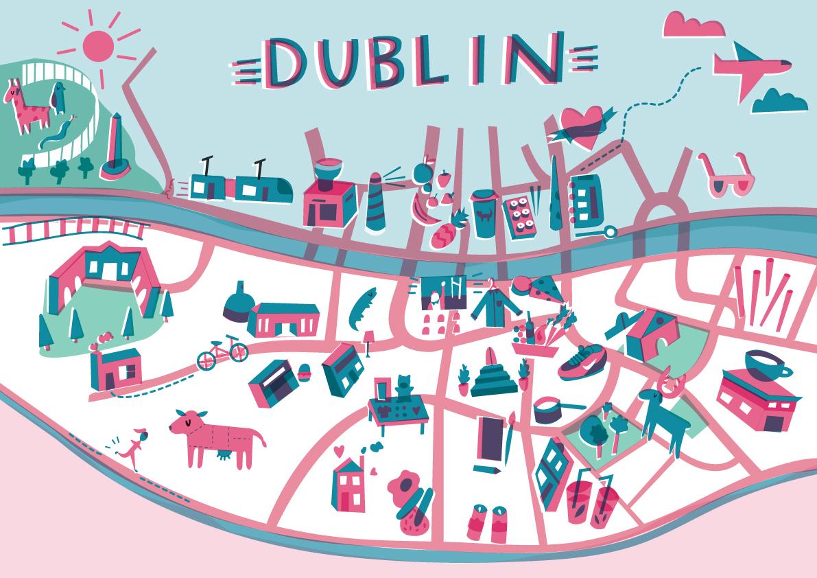 Amazing Illustrated Maps of Dublin | Wanderarti on